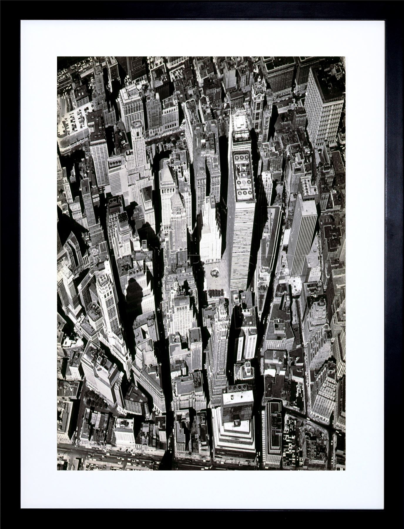 Black White Photo Aerial View Manhattan City New York Art Print Within Latest Black And White Framed Art Prints (View 4 of 15)