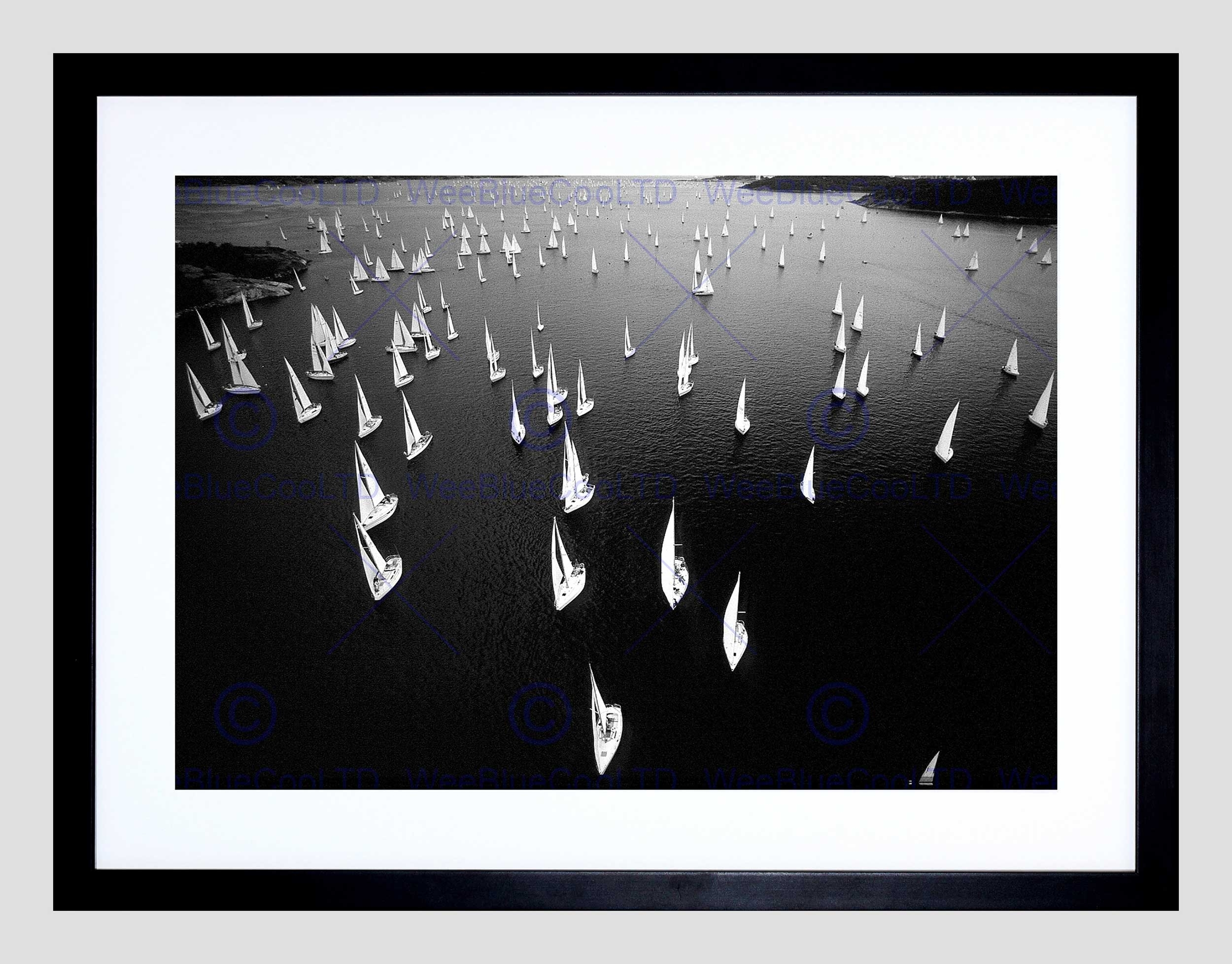 Black White Sail Boat Race Sea Black Frame Framed Art Print In Best And Newest Black Framed Art Prints (View 5 of 15)