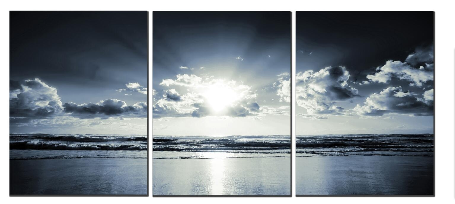 Black White Sunset Sea Modern Canvas Art Wall Decor Landscape For Best And Newest Black And White Canvas Wall Art (View 5 of 15)