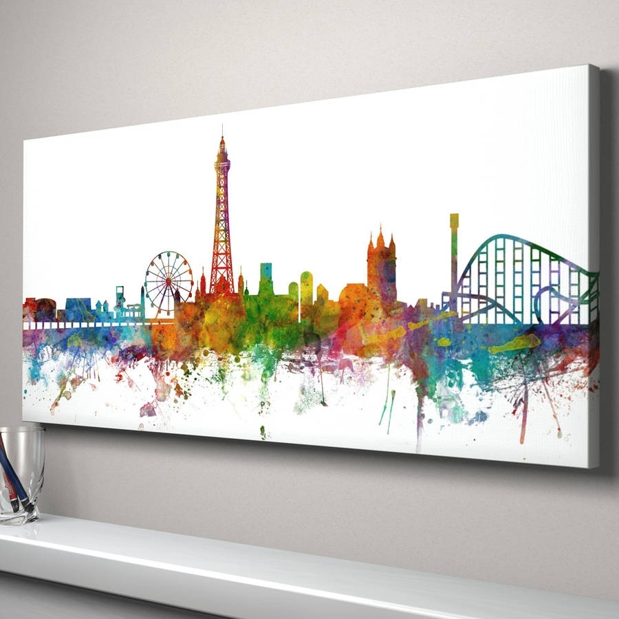 Blackpool Skyline Cityscape Art Printartpause With Regard To Most Recent Edinburgh Canvas Prints Wall Art (View 1 of 15)