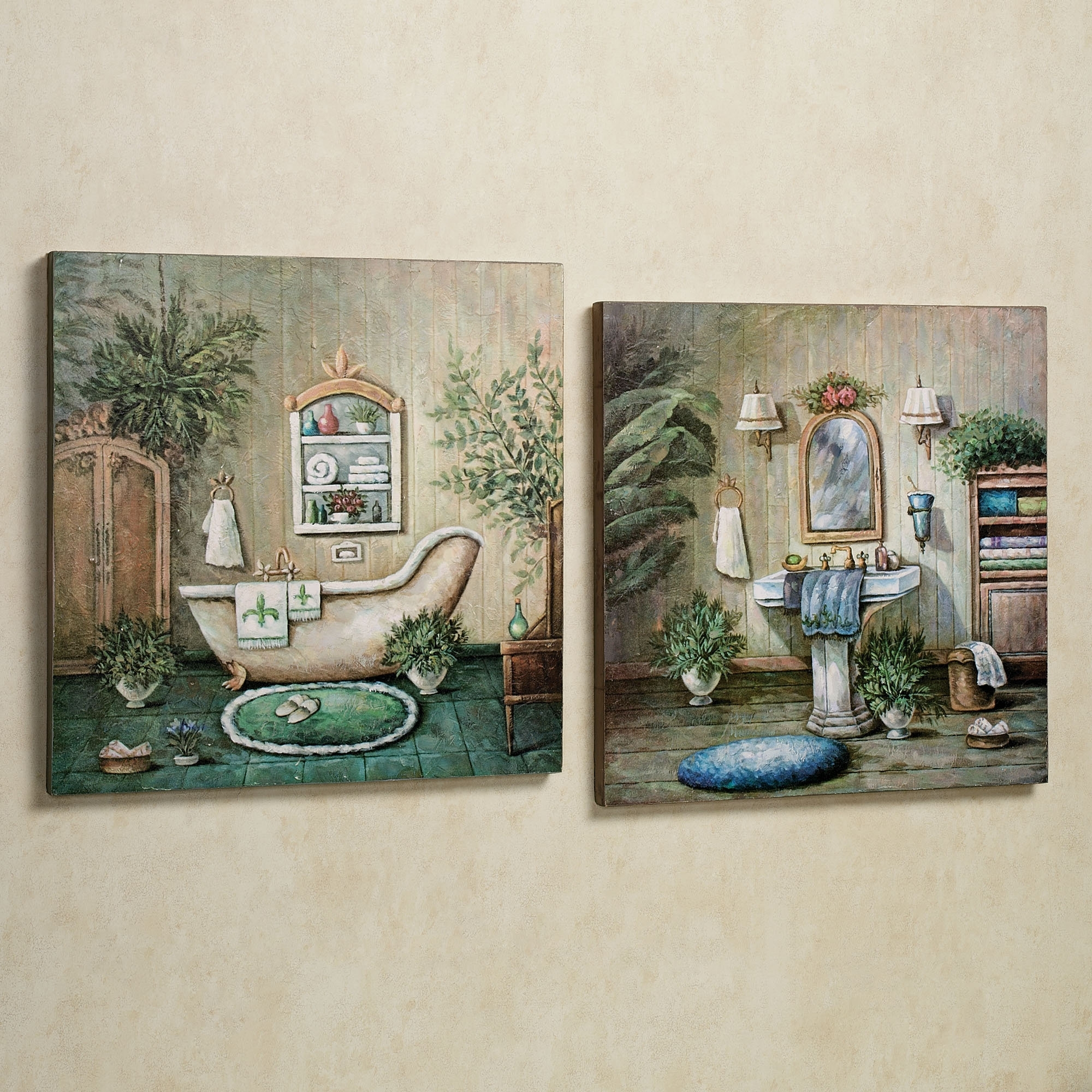 Blissful Bath Wooden Wall Art Plaque Set | Wall Decor | Pinterest With Regard To Most Up To Date Vintage Bath Framed Art Prints Set Of (View 9 of 15)