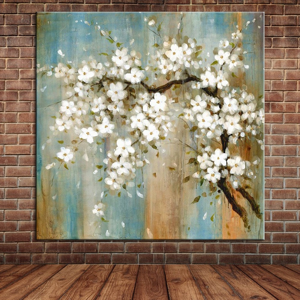 Blooming Almond Oil Painting On Canvas Modern Large Wall Art Intended For Current Fabric Flower Wall Art (View 4 of 15)
