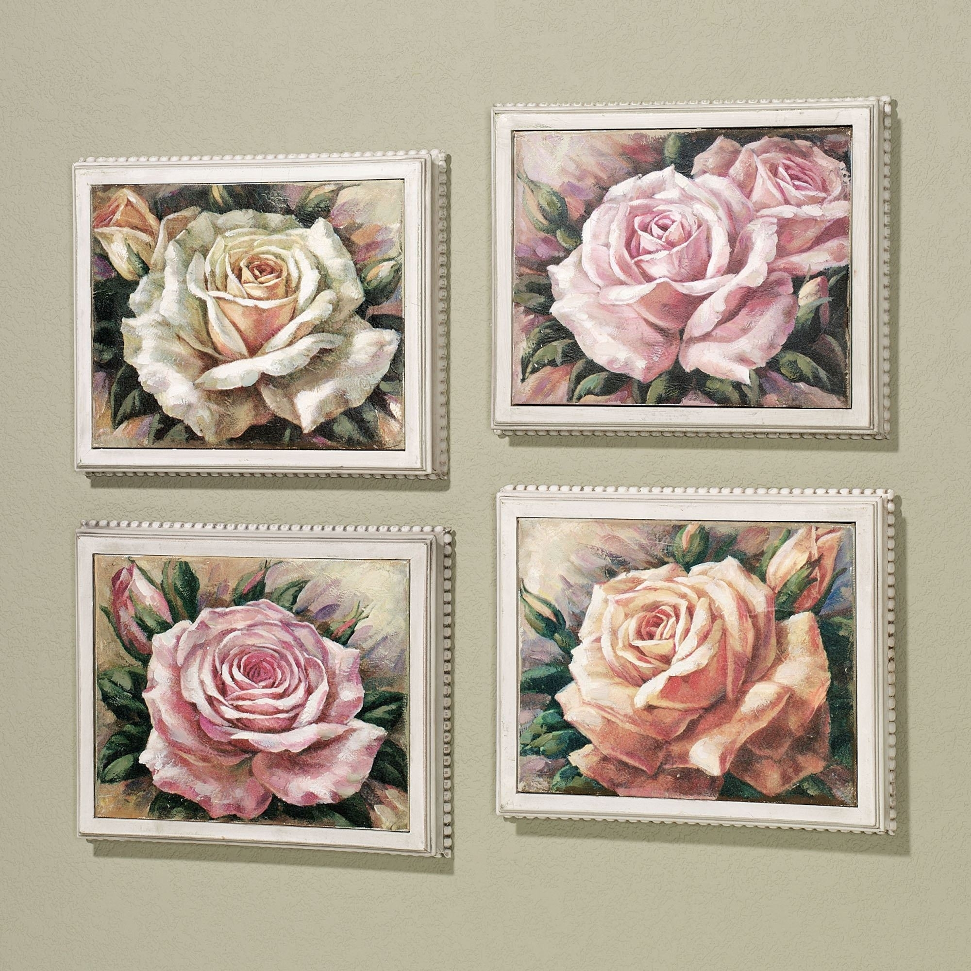 Blooming Roses Framed Canvas Wall Art Set Intended For 2017 Roses Canvas Wall Art (View 4 of 15)