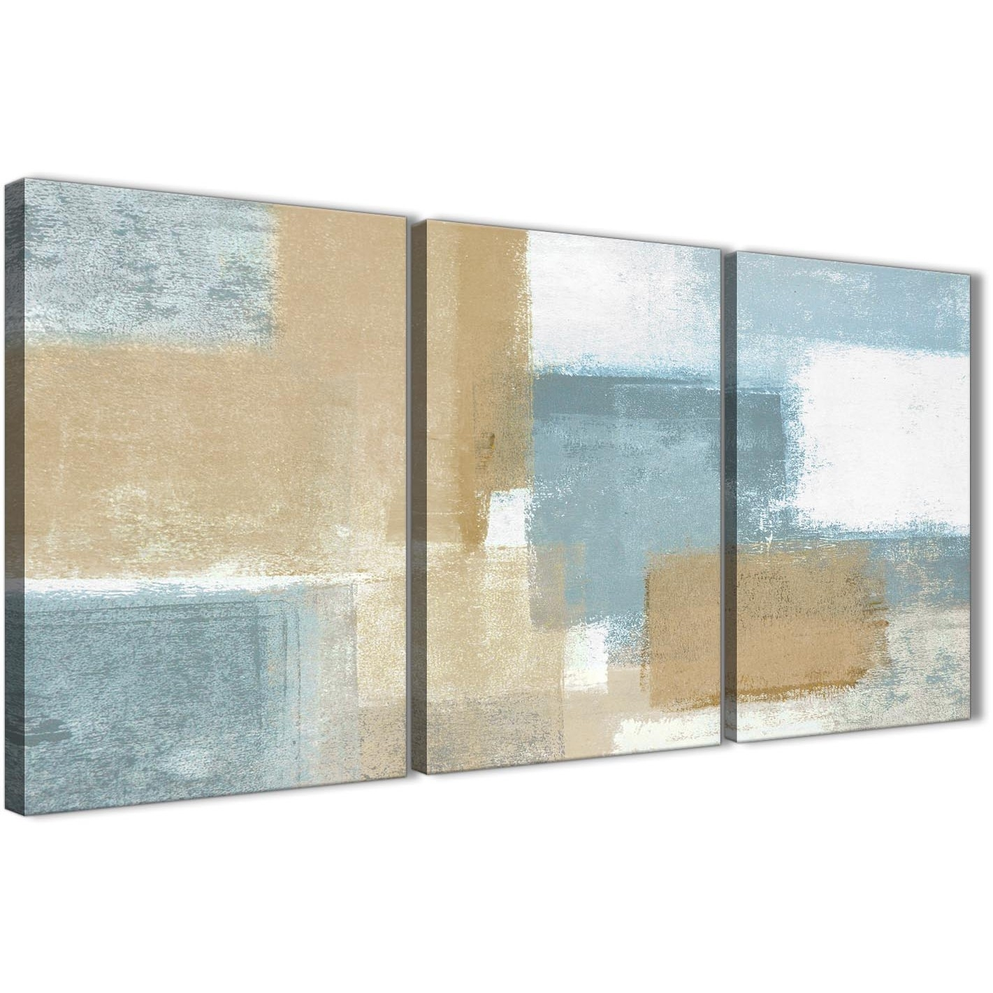 Blue Beige Brown Abstract Painting Canvas Wall Art Print – Multi With Newest Blue And Brown Canvas Wall Art (View 5 of 15)