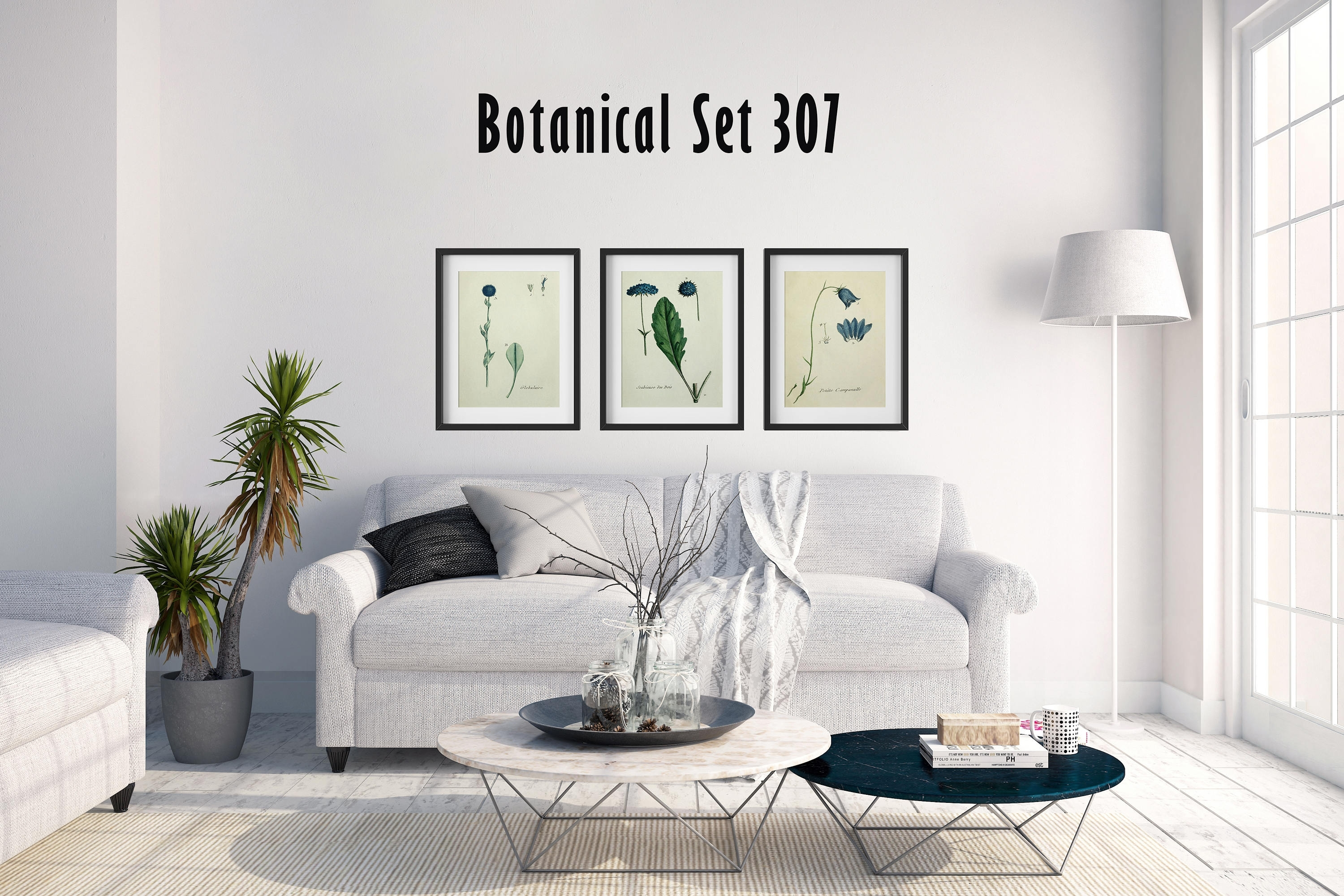 Blue Floral Botanical Wall Art, Set Of 3 Botanical Prints, Modern Within Most Recently Released Framed Art Prints For Bedroom (View 8 of 15)