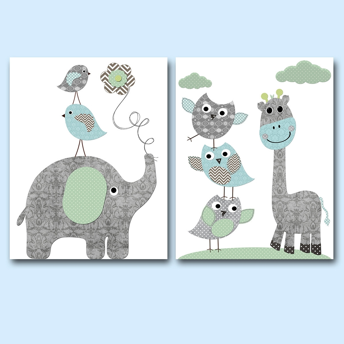 Blue Gray Canvas Art Kids Room Decor Baby Boy Nursery Art Print For 2017 Baby Room Canvas Wall Art (View 6 of 15)