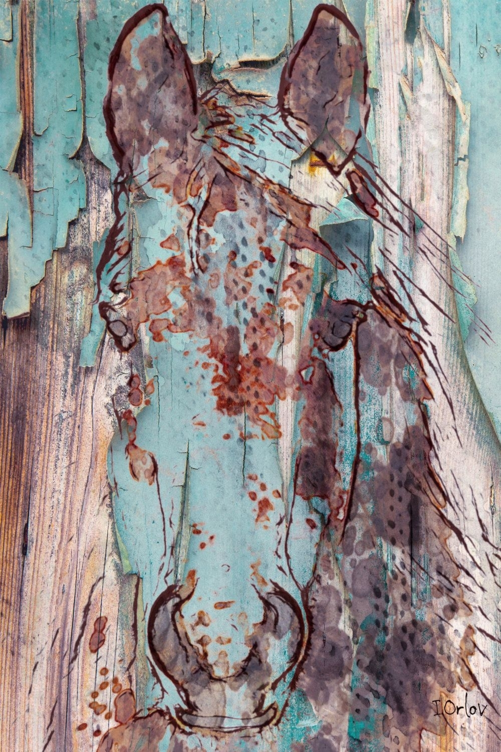 Blue Green Rustic Horse (View 3 of 15)