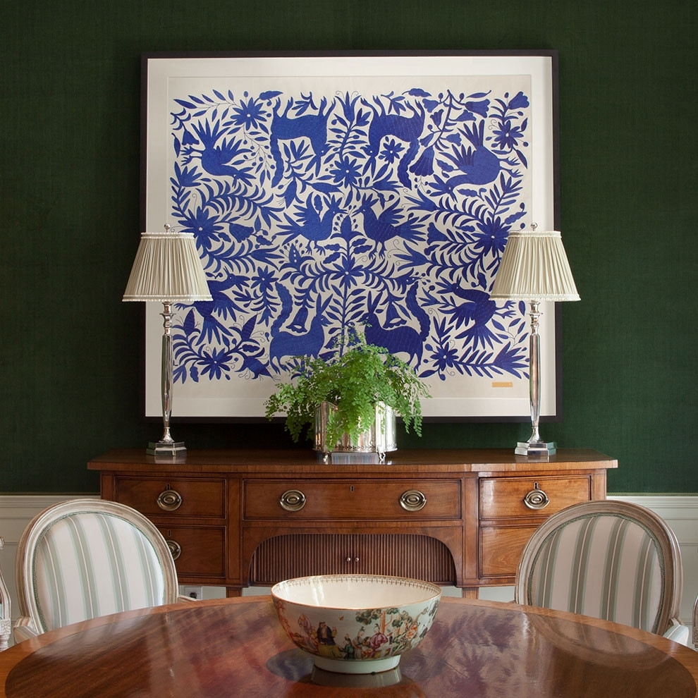 Blue Otomí – Sublime Framed Textile   Saints, Mexicans And Interiors For Latest Mexican Fabric Wall Art (View 2 of 15)