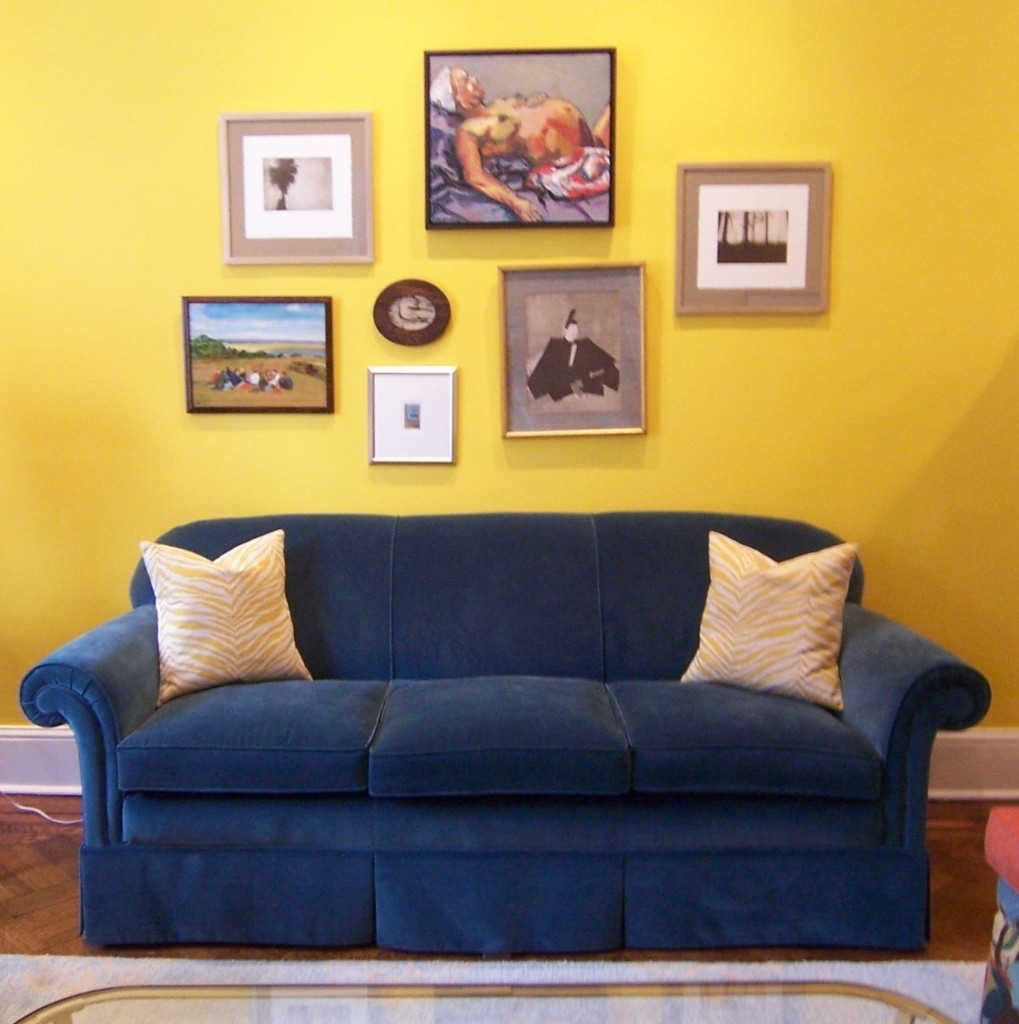 Blue Sofa With Yellow Art Wall | New Apartment | Pinterest | Art Pertaining To Most Up To Date Yellow Wall Accents (View 11 of 15)