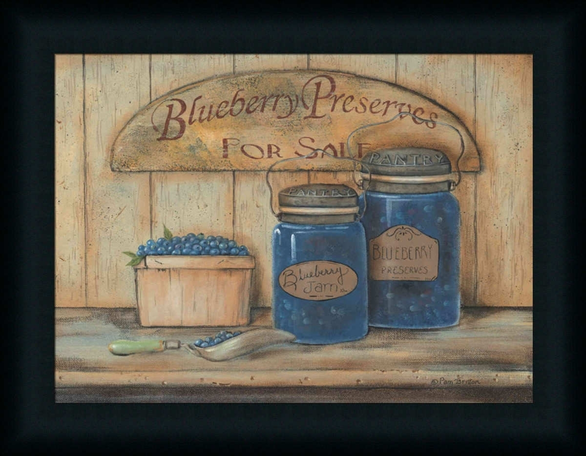 Blueberry Preserves For Salepam Britton – Art Print Framed Regarding Most Current Framed Country Art Prints (View 4 of 15)