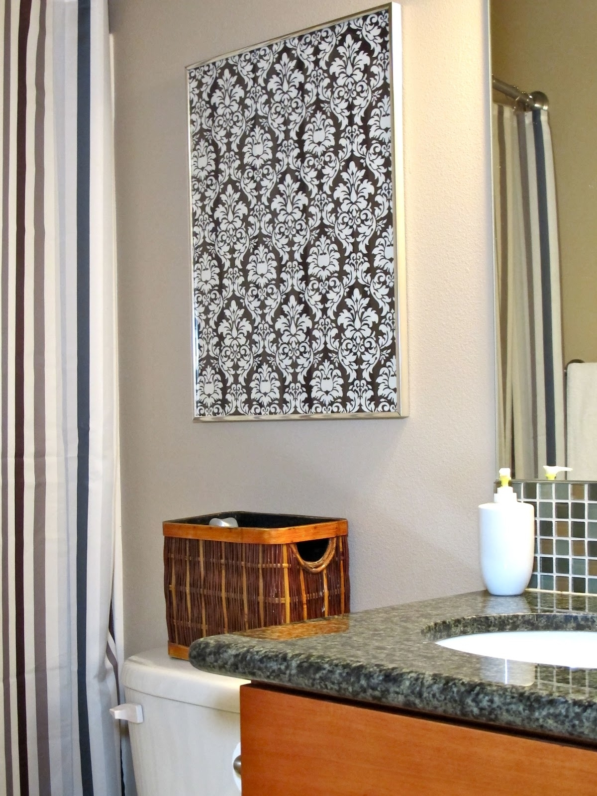 Blukatkraft: Diy Quick Easy Wall Art For Bathroom Within Most Current Damask Fabric Wall Art (View 4 of 15)