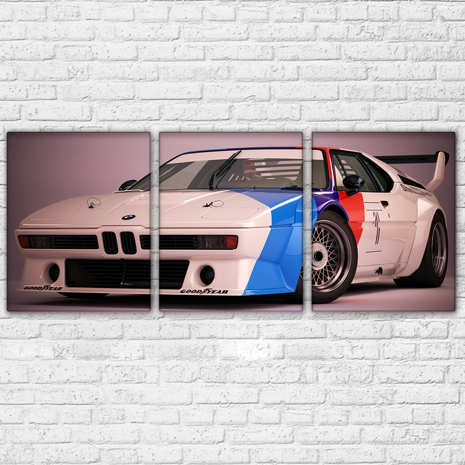 Bmw M1 Procar Sports Car Paintings Modern Canvas Wall Art Poster With Most Recent Bmw Canvas Wall Art (View 2 of 15)