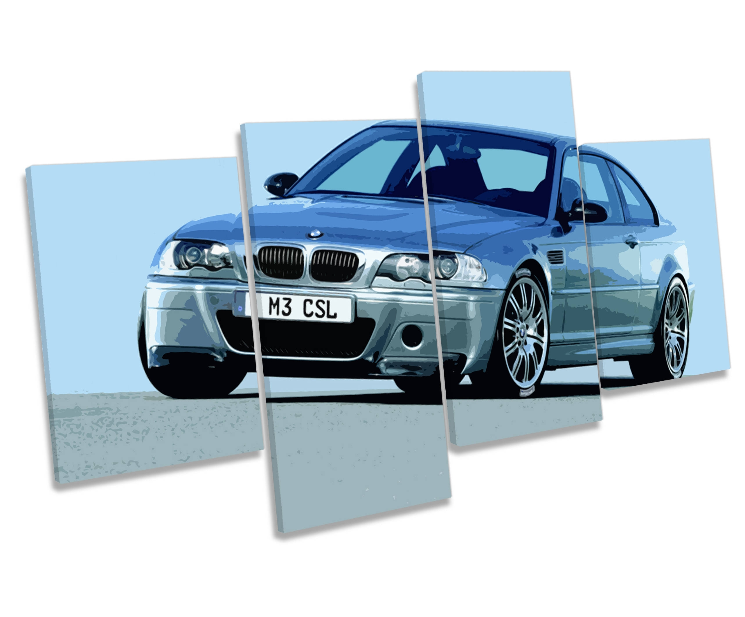 Bmw M3 Csl Car Multi Canvas Wall Art Box Framed Print Picture Throughout Most Recent Bmw Canvas Wall Art (View 15 of 15)