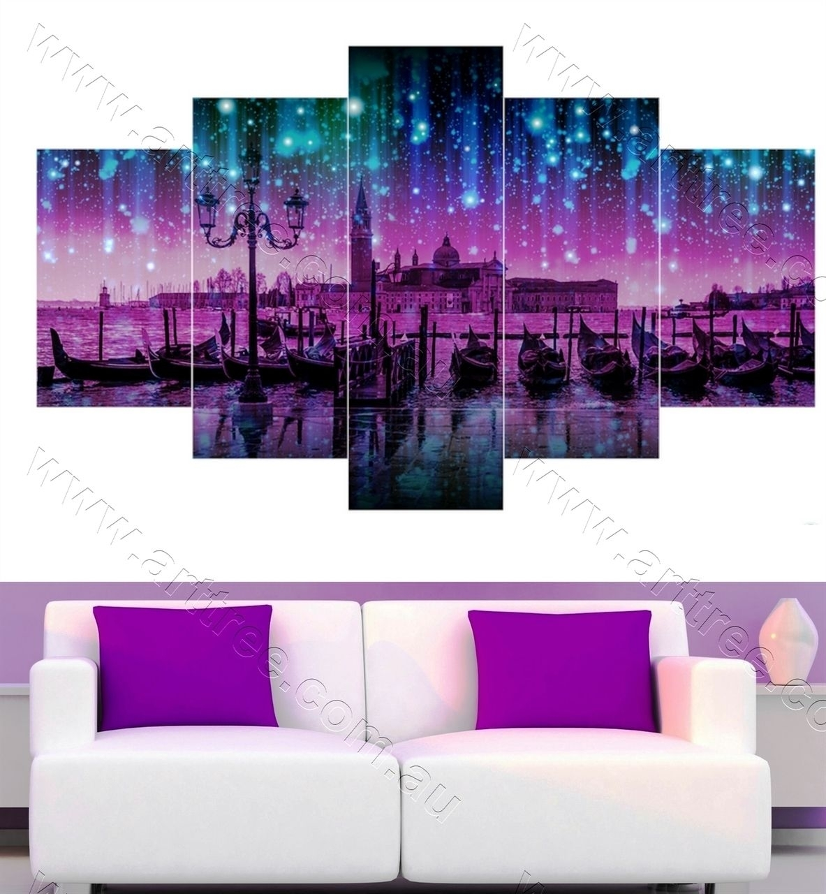 Boat In Purple Night Wall Art Perth | 5 Piece Canvas Print With Regard To Current Canvas Wall Art Of Perth (View 12 of 15)