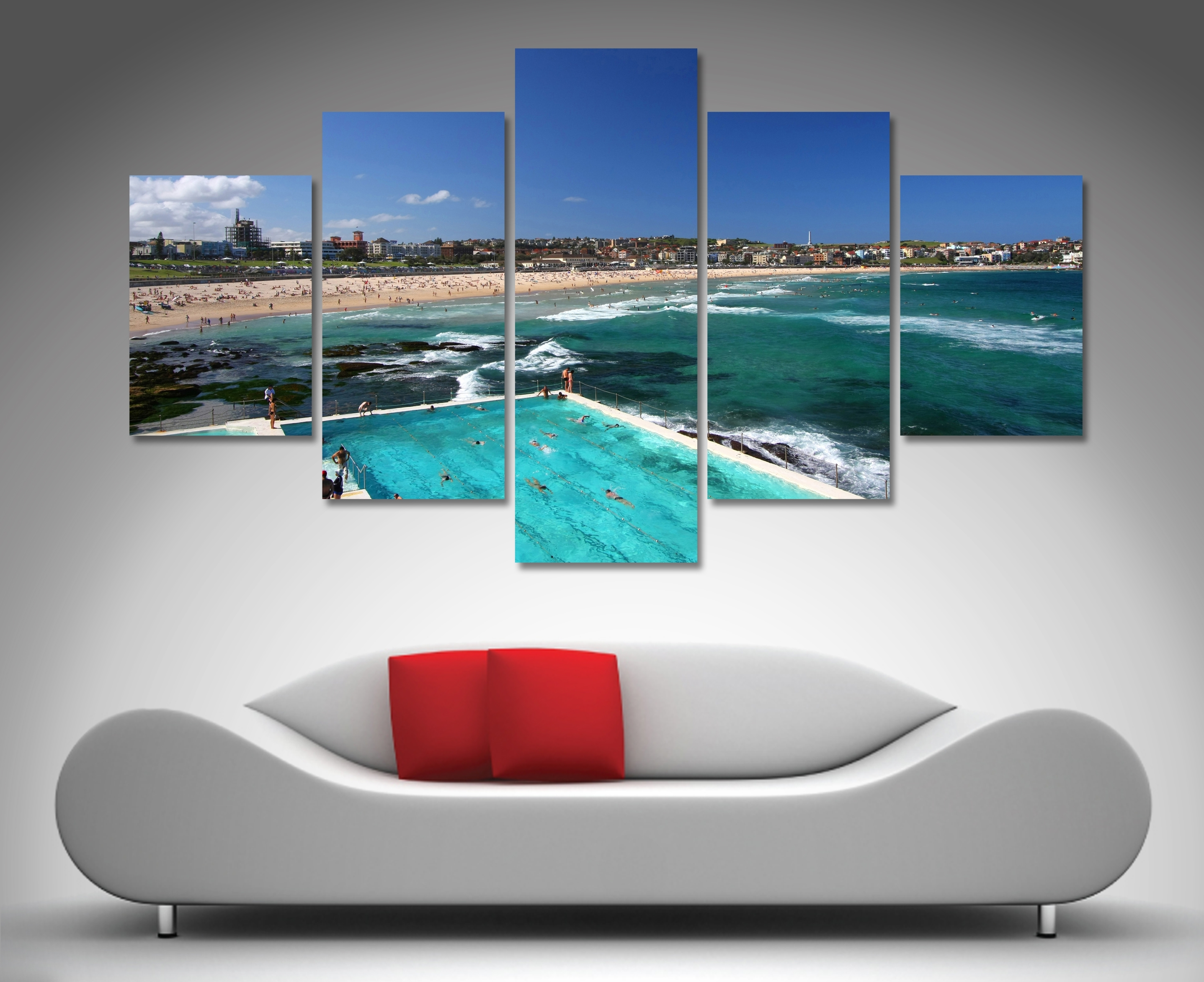 Bondi Beach 5 Panel Wall Art | Canvas Printing Australia Intended For Recent Beach Canvas Wall Art (View 6 of 15)