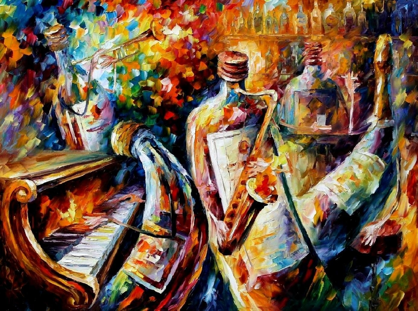 Bottle Jazz – Palette Knife Oil Painting On Canvasleonid Throughout Most Up To Date Jazz Canvas Wall Art (View 7 of 15)