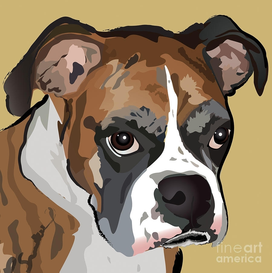 Boxer Dog Portrait Paintingrobyn Saunders Pertaining To Most Recent Dog Art Framed Prints (View 15 of 15)