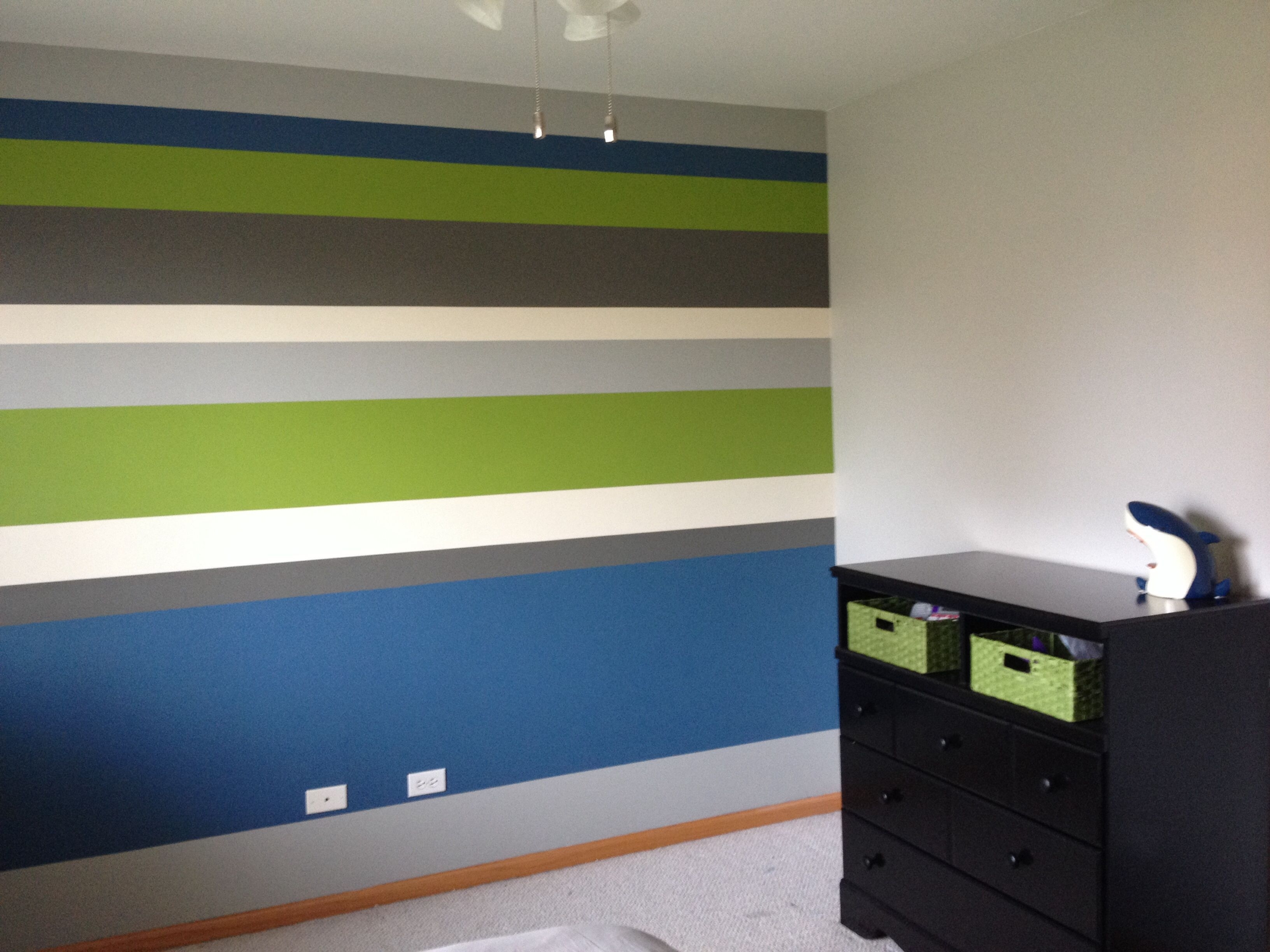 Boys Bedroom! Horizontal Stripes Accent Wall! Bm Stonington Gray Intended For 2018 Horizontal Stripes Wall Accents (View 2 of 15)