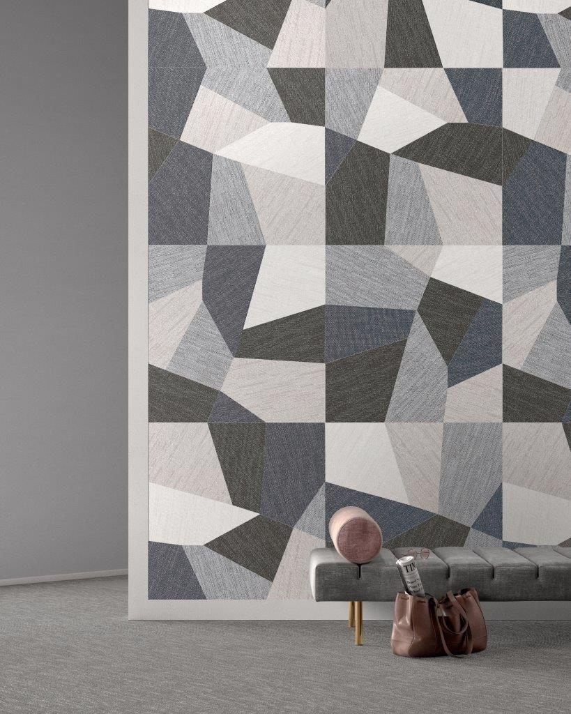 Brand New! 'denim' Porcelain Fuses Geometric Design With A Fabric Inside Latest Geometric Fabric Wall Art (View 3 of 15)