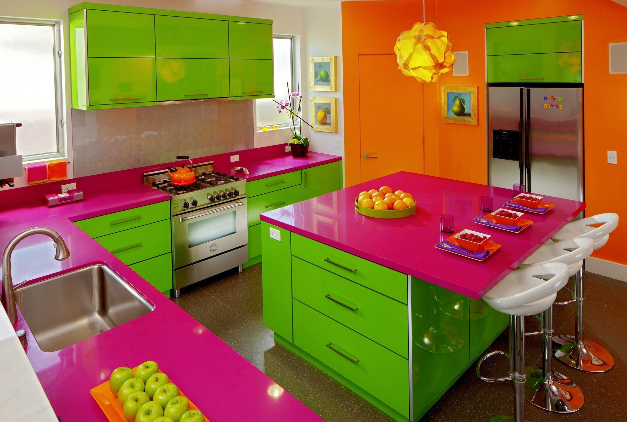 Bright Accent Wall Color Scheme Of Modern Kitchen Design Regarding Newest Wall Accents Cabinets (View 1 of 15)
