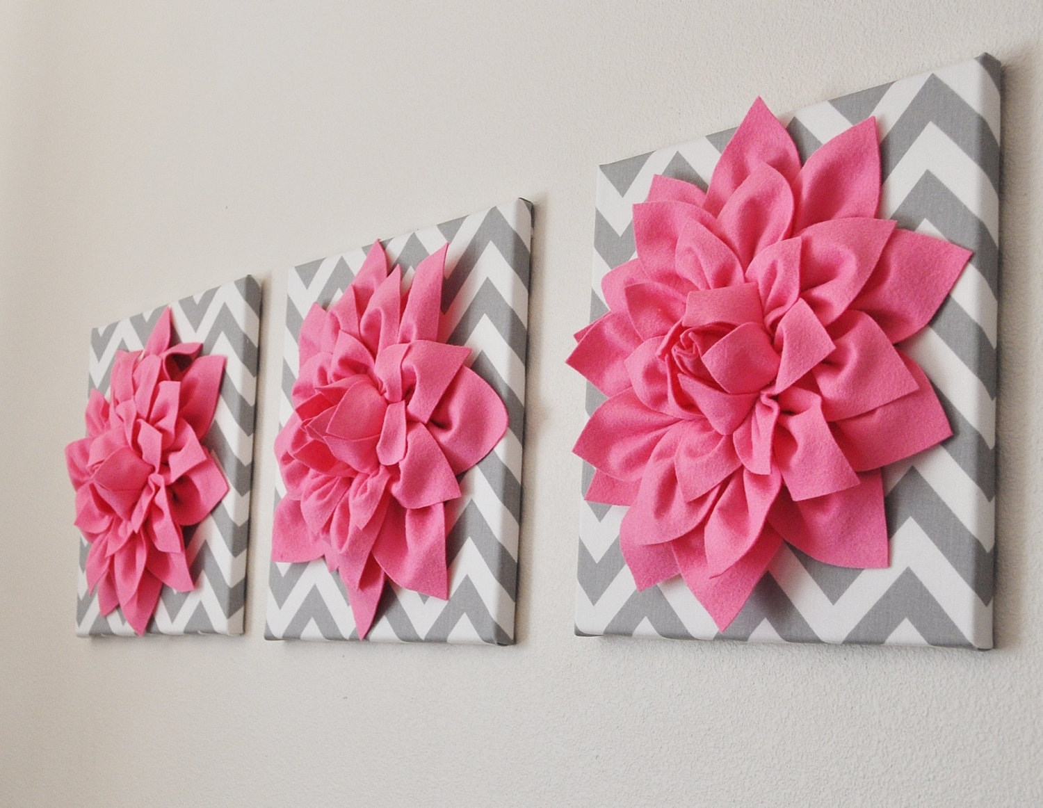 Bright Pink Wall Art  Set Of Three Pink Dahlias On Gray And White With Current Pink Canvas Wall Art (View 8 of 15)