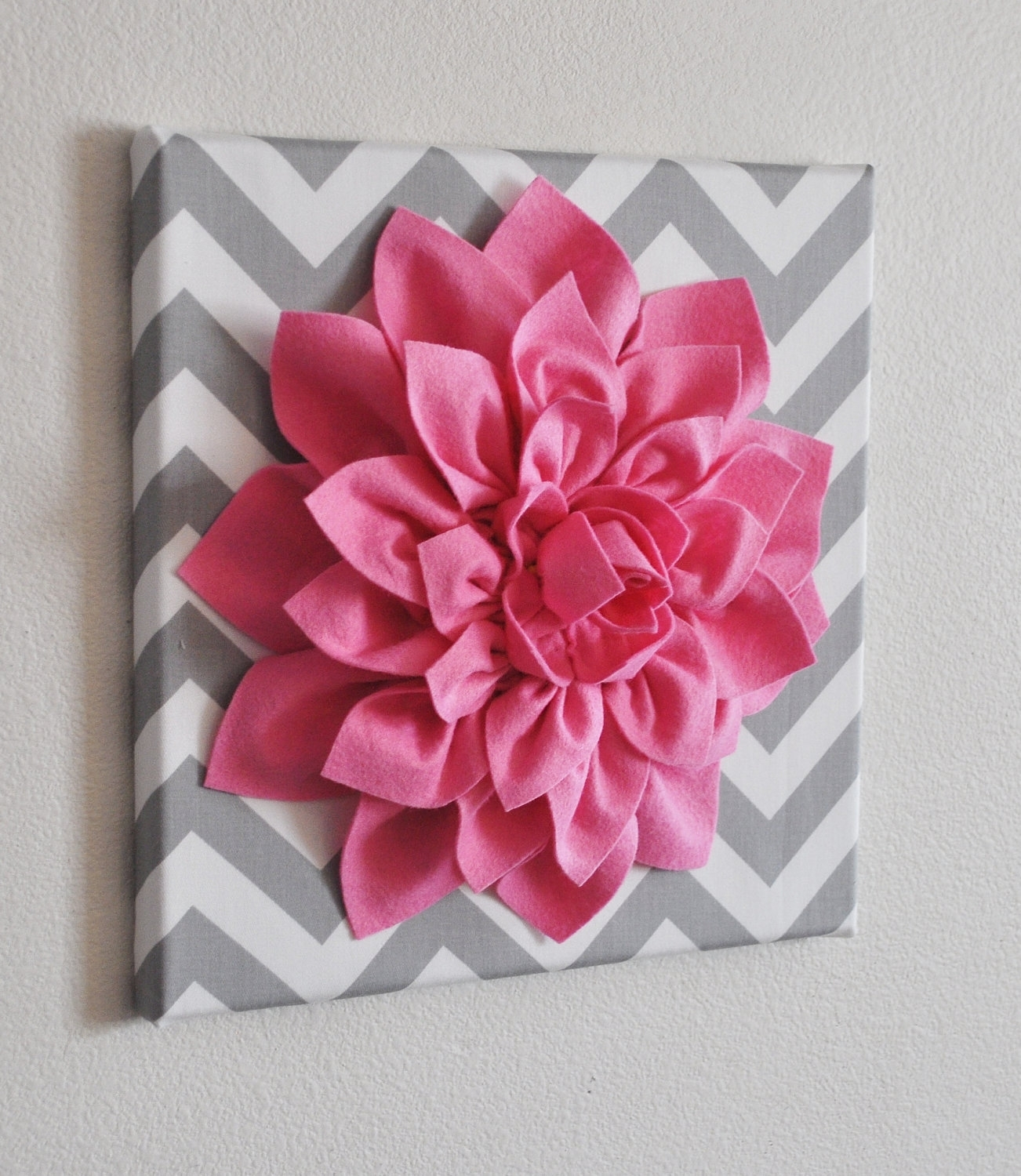 Bright Pink Wall Flower Bright Pink Dahlia On Gray And White Inside Most Current Diy Fabric Flower Wall Art (View 11 of 15)