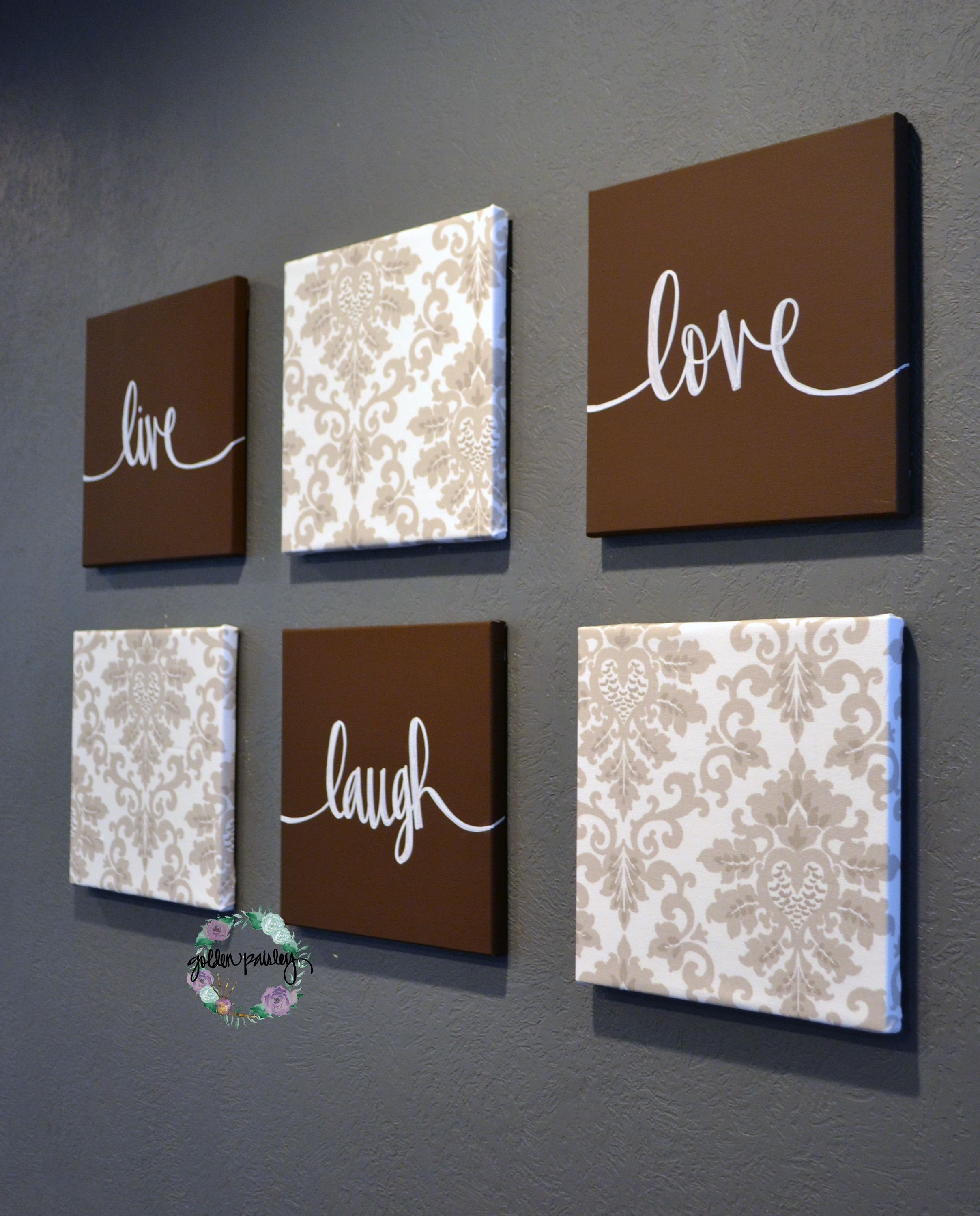 Brown Beige Live Laugh Love Set Intended For Newest Live Laugh Love Canvas Wall Art (View 3 of 15)