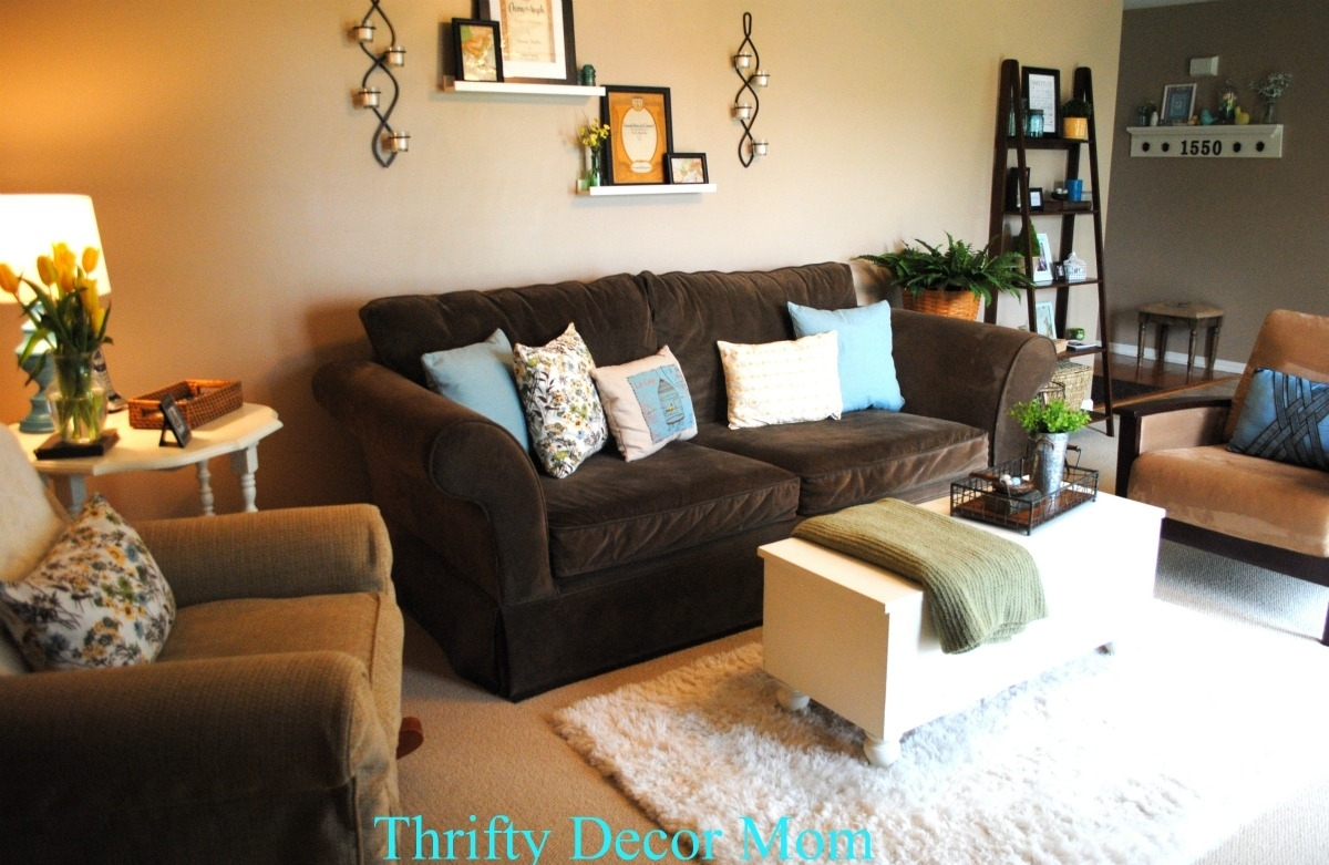 Brown Couch Tan Walls Blue Accents Modern All Of The Pillows Brown Regarding Newest Brown Furniture Wall Accents (View 7 of 15)