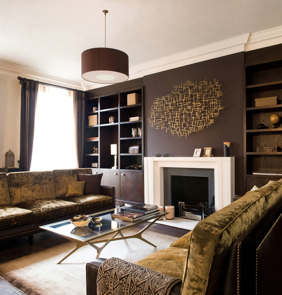Brown Walls With Sofa Living Room Contemporary And Modern Wall Accents Pertaining To Most Recently Released Brown Wall Accents (View 8 of 15)
