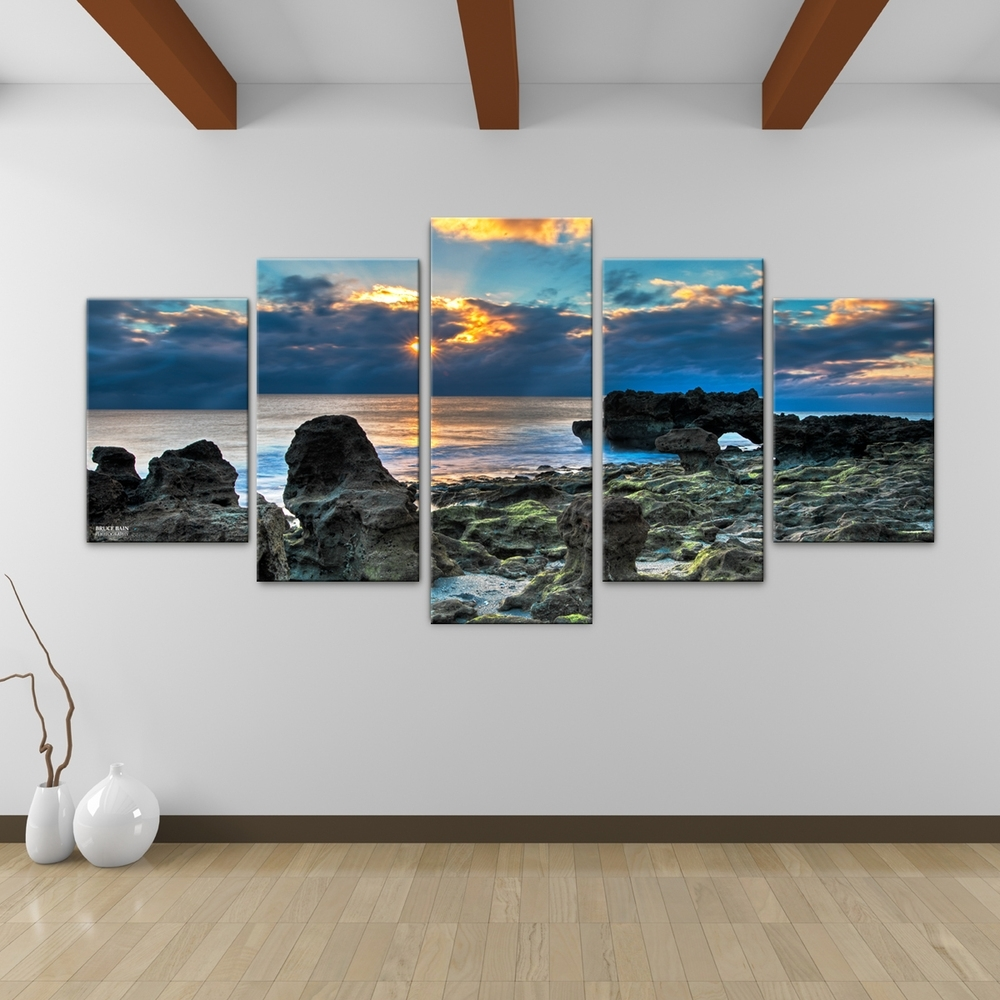 Bruce Bain 'sun Rise' 5 Piece Canvas Wall Art | Overstock Inside 2017 Murals Canvas Wall Art (View 3 of 15)