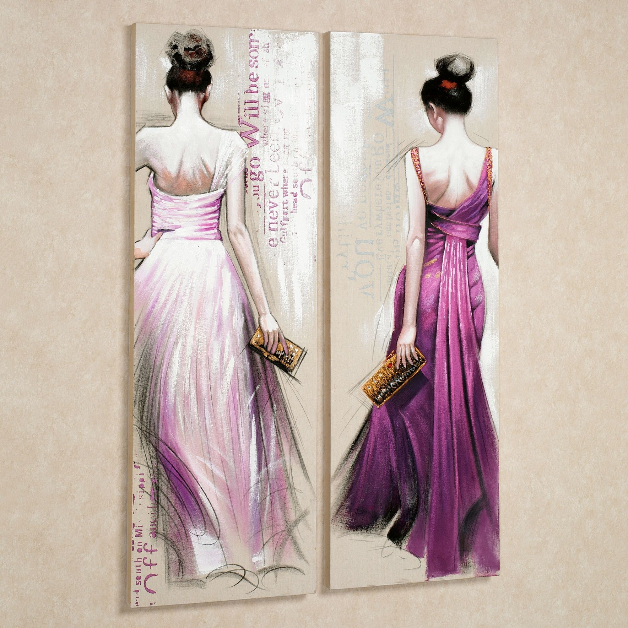Brunette Beauties Canvas Wall Art Set Within Latest Lilac Canvas Wall Art (View 5 of 15)