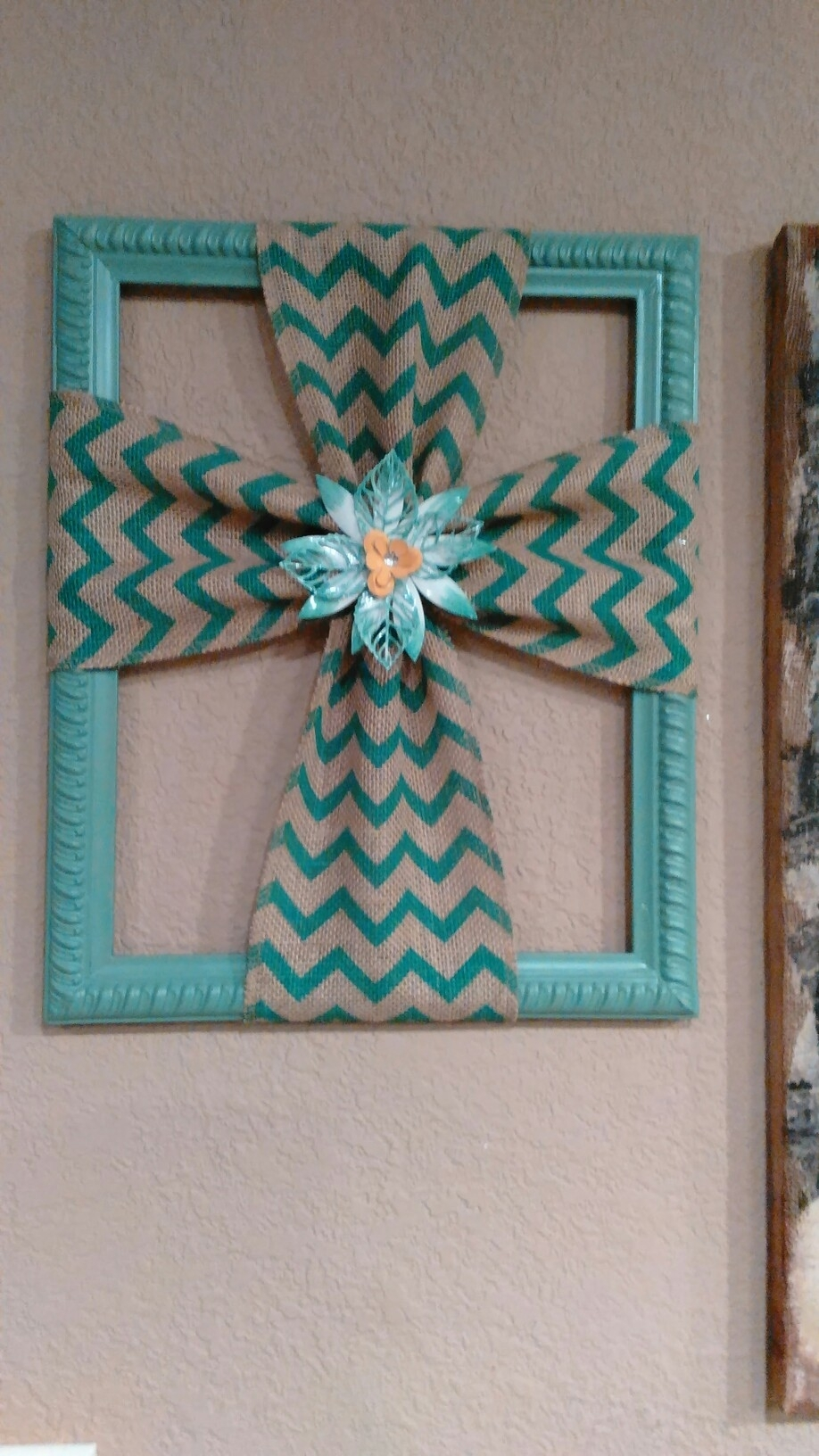 Burlap Cross Made With A Repurposed Picture Frame | Diy In Latest Diy Fabric Cross Wall Art (View 2 of 15)