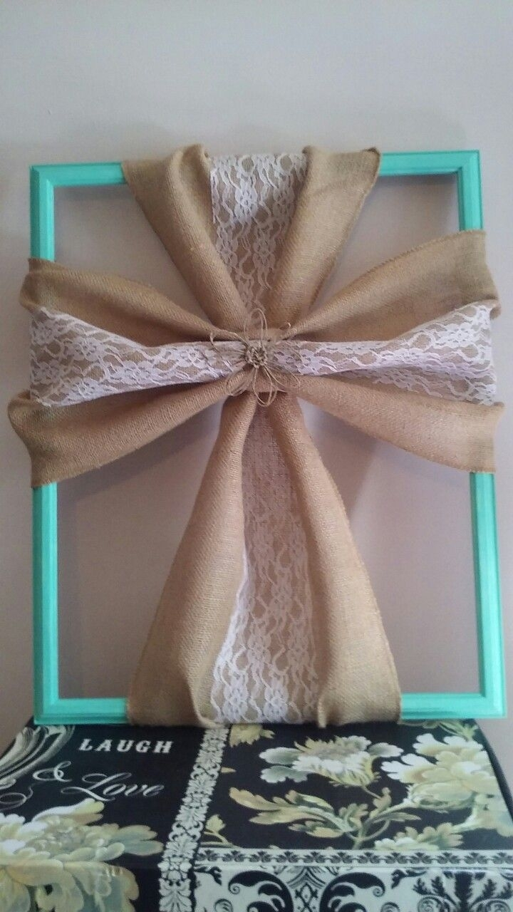 Burlap Fabric Cross. Teal Frame (View 1 of 15)