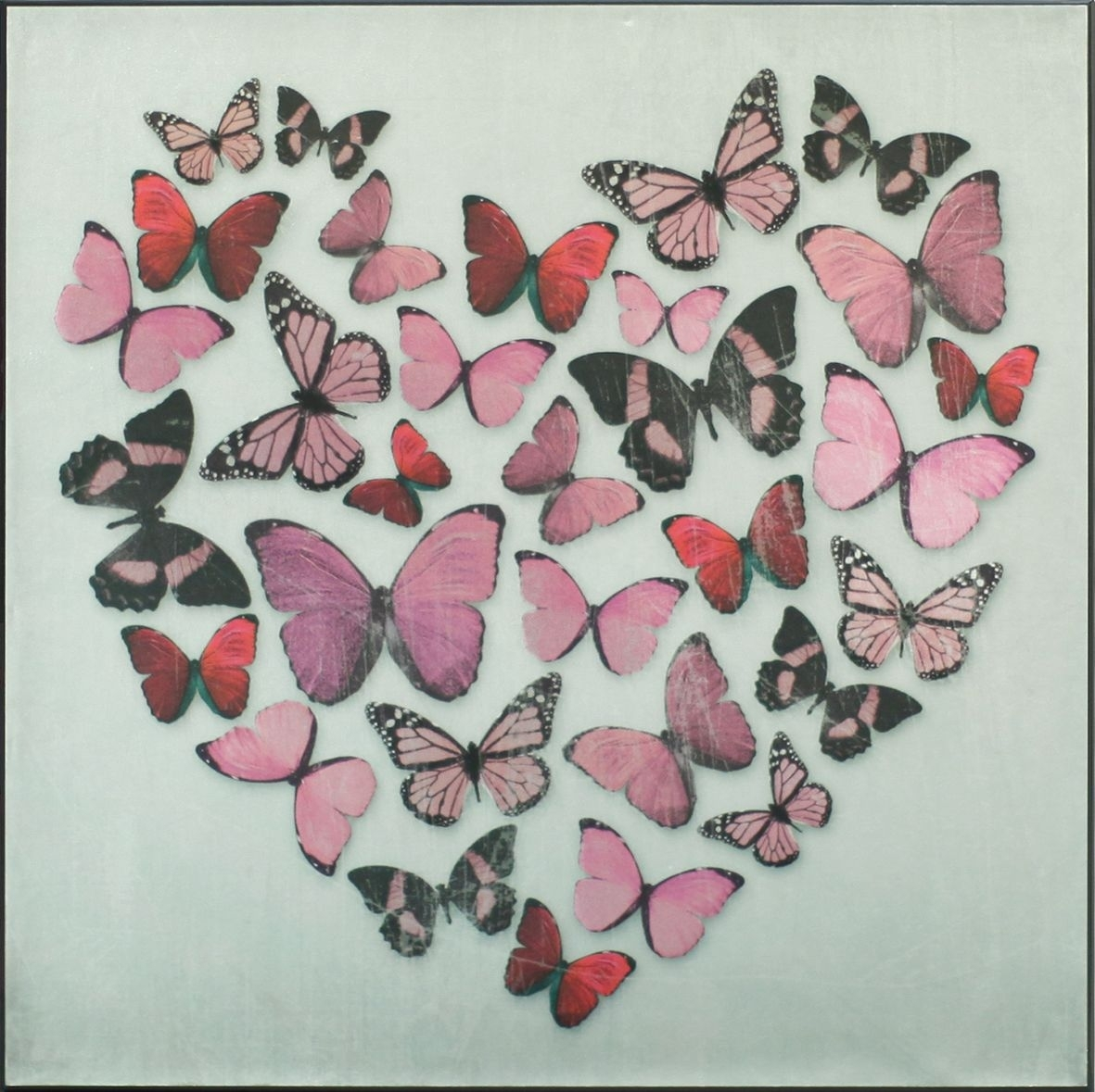 Butterfly Love Pink Superfoil Canvasarthouse : Wallpaper Direct Pertaining To 2017 Butterflies Canvas Wall Art (View 3 of 15)