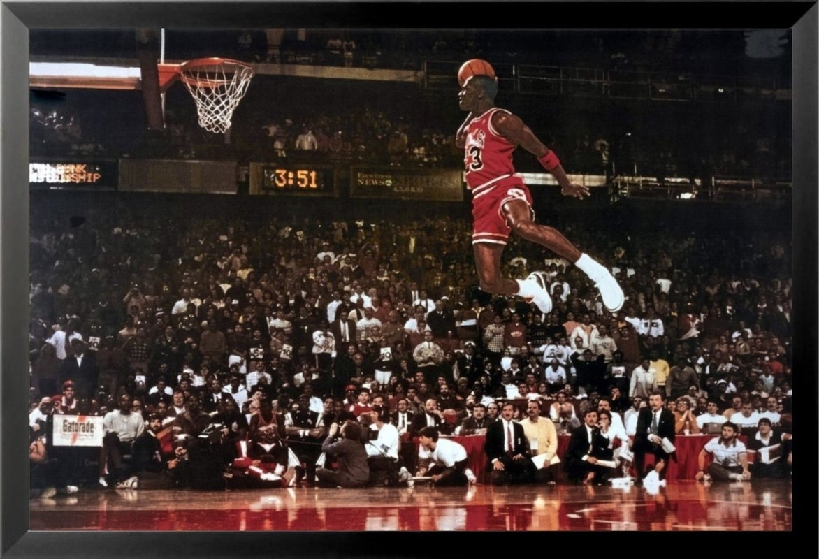 Buy Art For Less 'michael Jordan – Foul Line Dunk Sports – Nba For Newest Michael Jordan Canvas Wall Art (View 4 of 15)