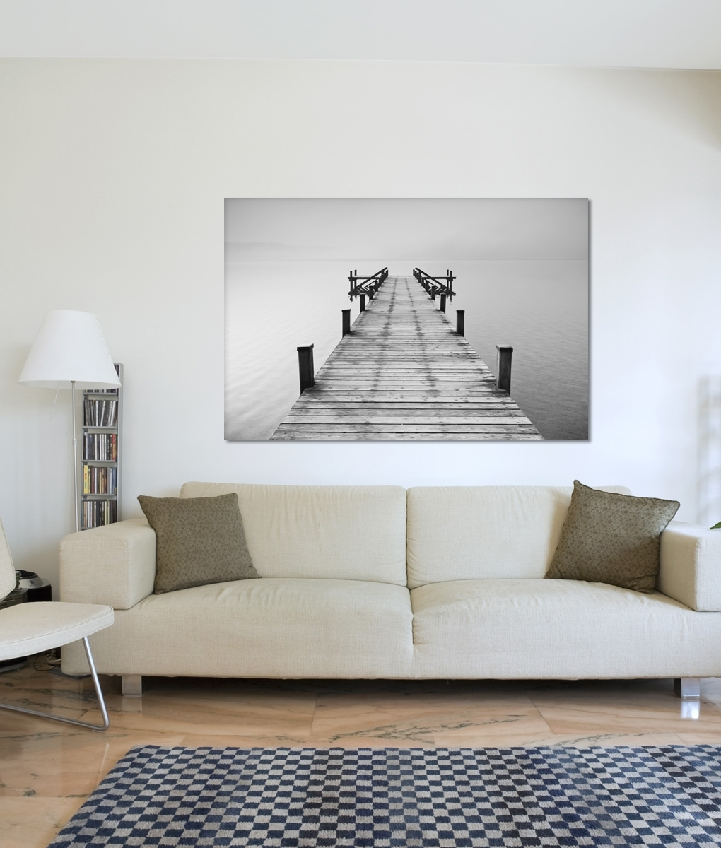 B&w Jetty Canvas Print | Framingland Pertaining To Most Recently Released Jetty Canvas Wall Art (View 3 of 15)