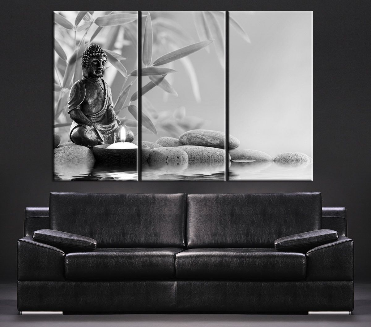 Canvas Art Gray Buddha Statue Canvas Print – Large Wall Art Canvas For Best And Newest Black And White Photography Canvas Wall Art (View 6 of 15)