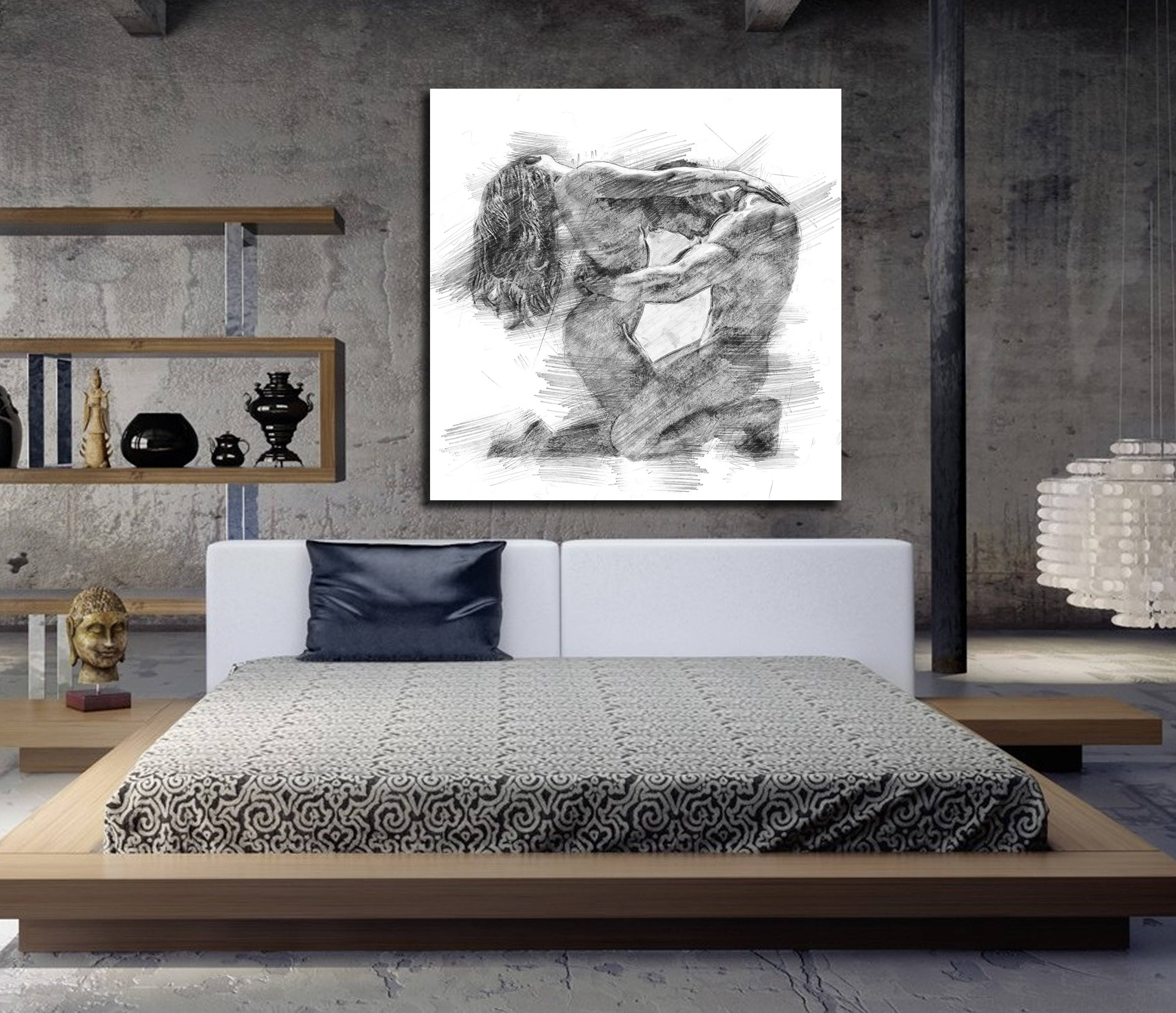Canvas Art His & Hers Bedroom Wall Art, Abstract Art Print, Pencil Within Newest Masters Canvas Wall Art (View 5 of 15)