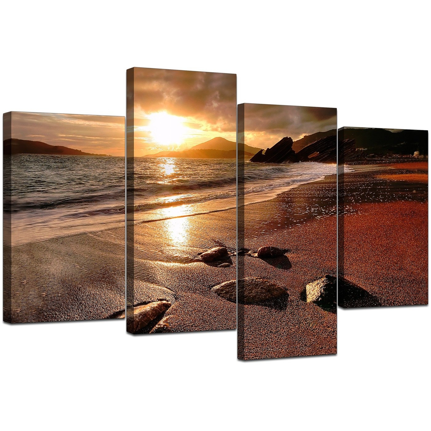 Canvas Art Of Beach Sunset For Your Living Room – 4 Panel Within Newest House Of Fraser Canvas Wall Art (Gallery 13 of 15)
