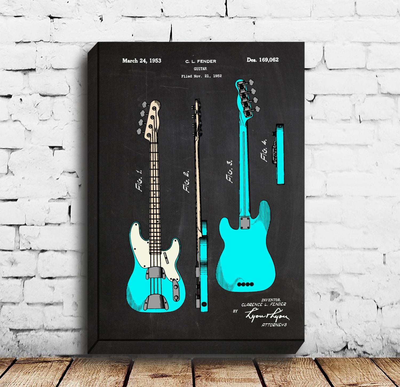 Canvas – Bass Guitar, Fender Bass Guitar Poster,fender Bass Guitar Pertaining To Current Bass Framed Art Prints (View 4 of 15)