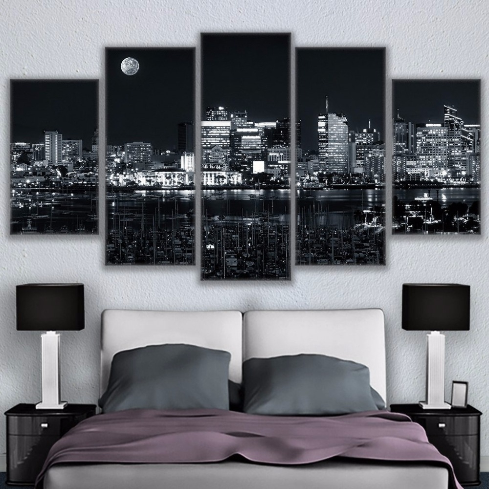 Canvas Home Decor For Living Room Wall Art Pictures 5 Pieces Los For Latest Los Angeles Canvas Wall Art (View 5 of 15)