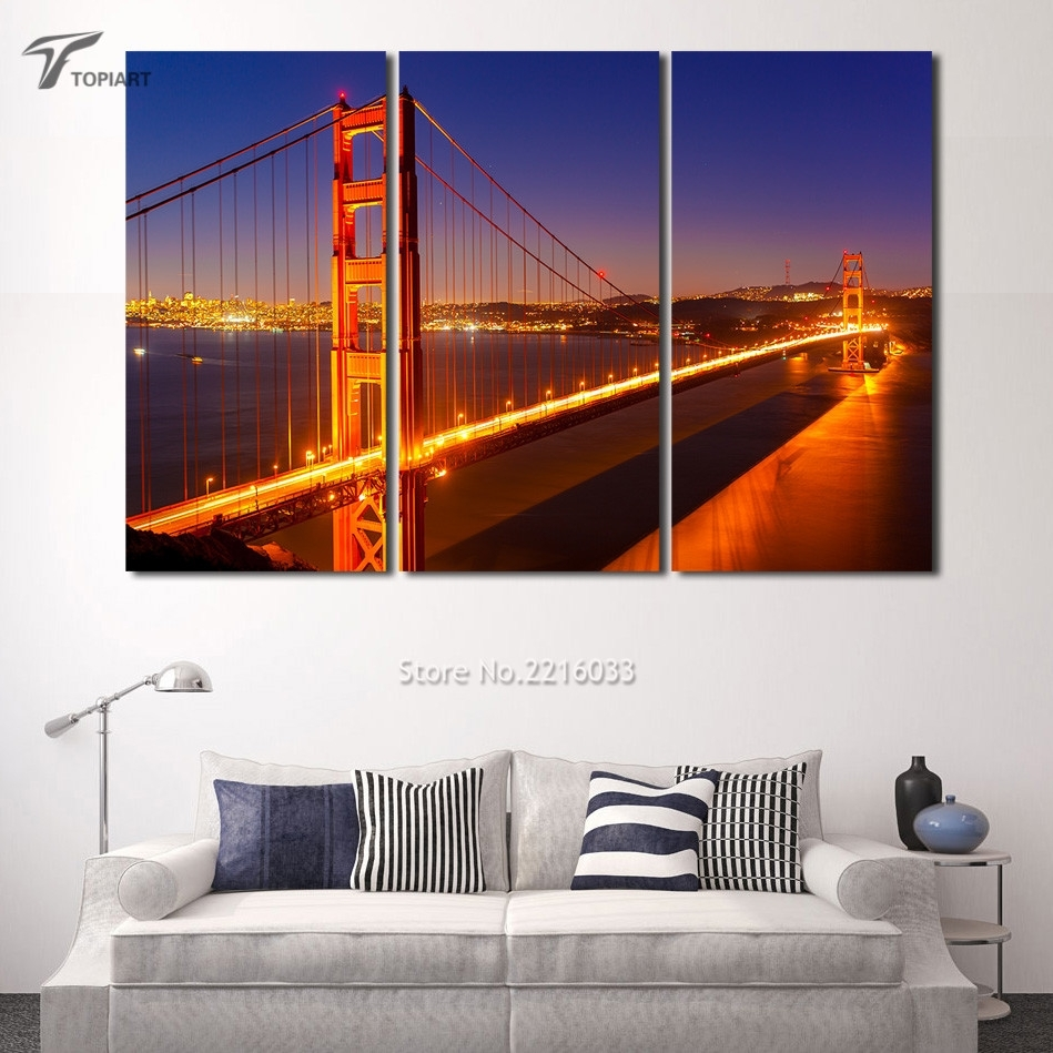 Canvas Painting Set Golden Gate Bridge 3 Panel Large Wall Art With Regard To Latest Golden Gate Bridge Canvas Wall Art (View 10 of 15)