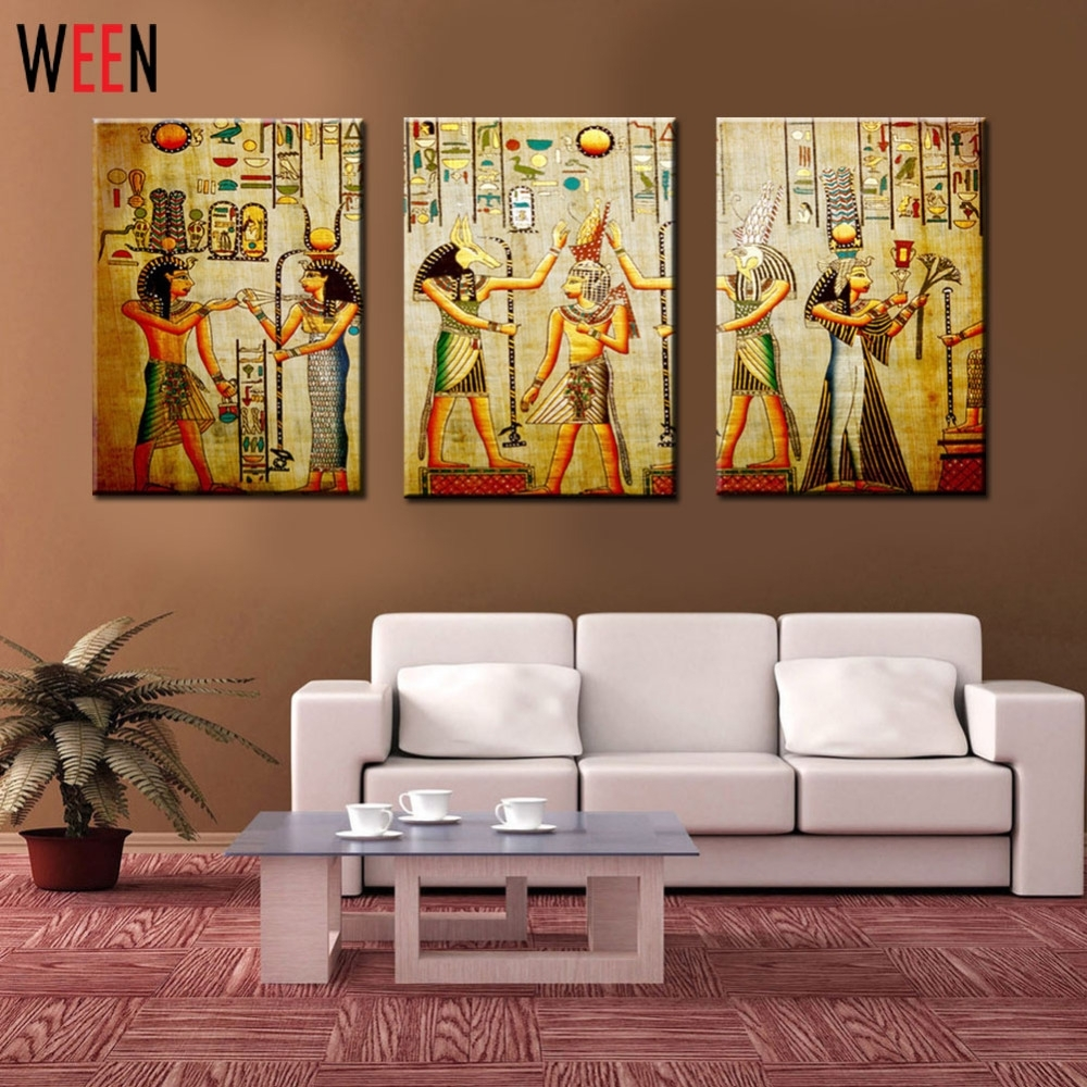 Canvas Painting Triple Abstract Picture Egyptian Mural Room Modern In Most Recently Released Egyptian Canvas Wall Art (View 13 of 15)