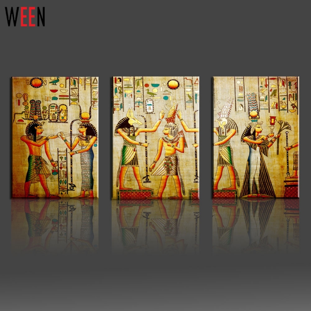 Canvas Painting Triple Abstract Picture Egyptian Mural Room Modern Inside Best And Newest Murals Canvas Wall Art (View 4 of 15)