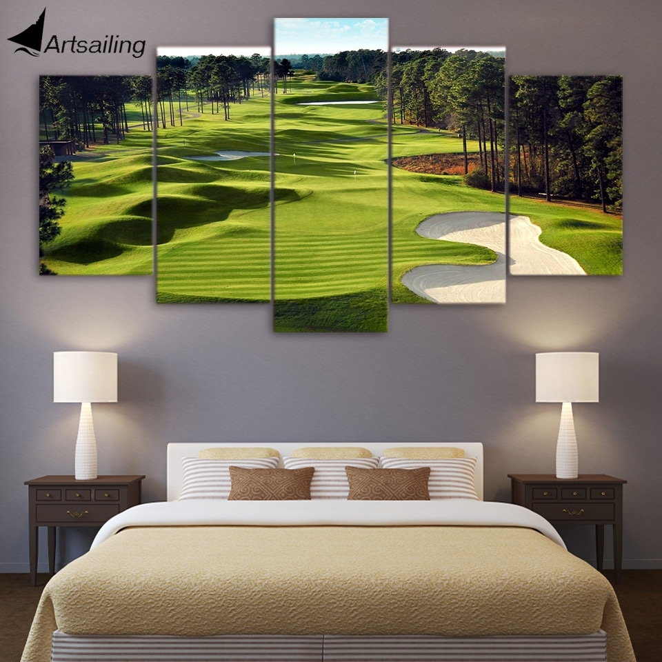 Canvas Paintings Printed 5 Pieces Golf Course Wall Art Canvas Throughout Current Living Room Canvas Wall Art (View 7 of 15)