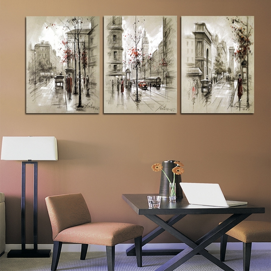 Canvas Print 3 Panel Abstract Oil Painting Canvas Retro City Regarding Most Recent Retro Canvas Wall Art (View 8 of 15)