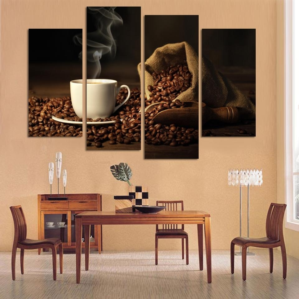 Canvas Print Art 4 Panel Hd Printed Canvas Painting Coffee Wall Throughout Current Kitchen Canvas Wall Art (View 10 of 15)