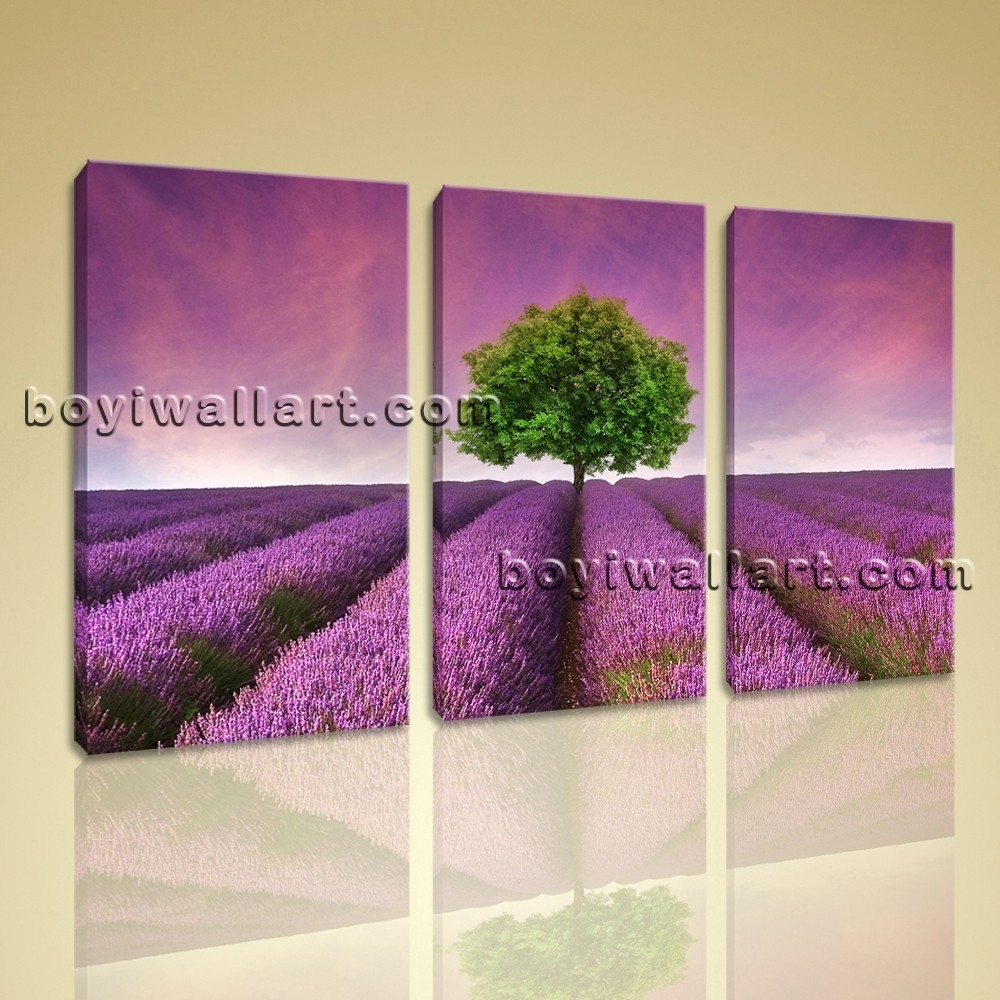 Canvas Print Contemporary Wall Art Sunset Purple Landscape Within Recent Canvas Wall Art In Purple (View 5 of 15)