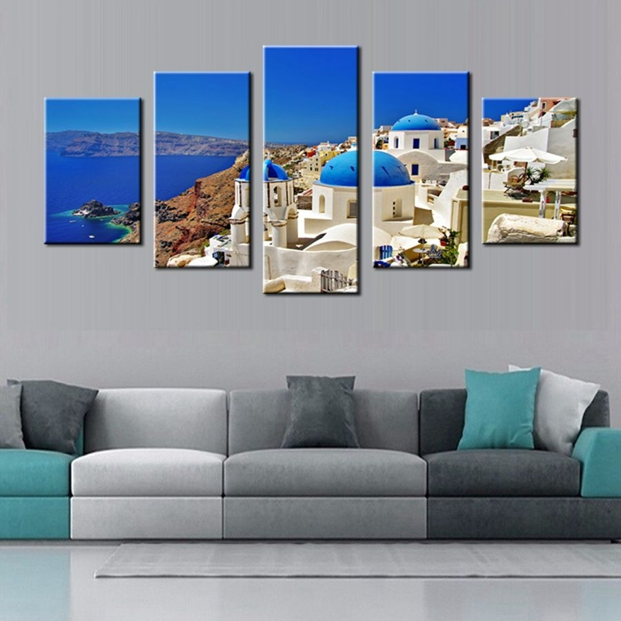 Canvas Print Wall Art Painting Santorini Island Greece Famous With 2017 Greece Canvas Wall Art (View 2 of 15)