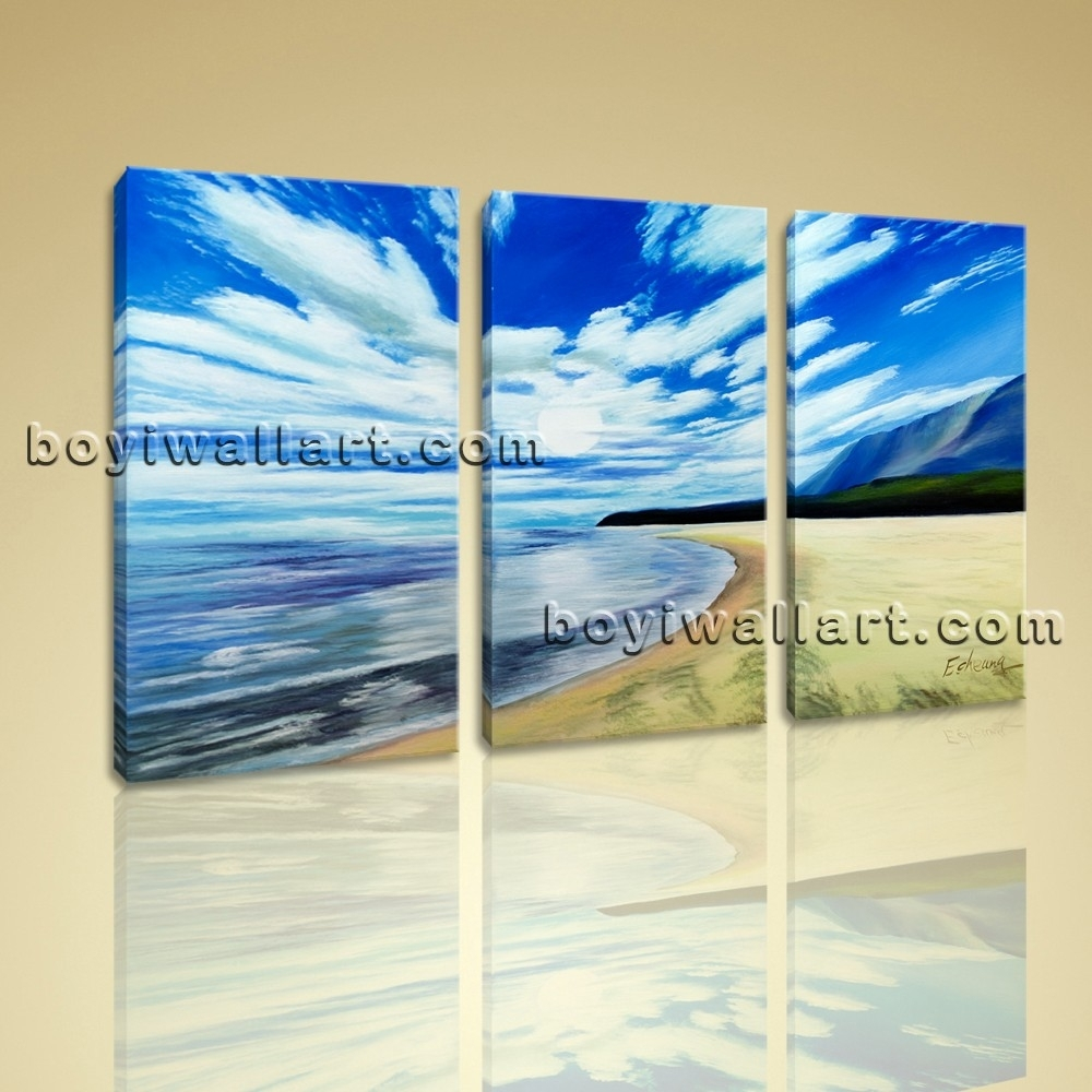Canvas Prints Contemporary Landscape Beach Gallery Wrapped Wall Within Current Beach Canvas Wall Art (View 7 of 15)
